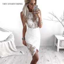 Sexy White Lace Dress Party Night Hollow Out Patchwork Floral Party Dress Women Sleeveless Bodycon Ladies Midi Dress Summer 2019 sexy black hollow lace bodycon party midi dress