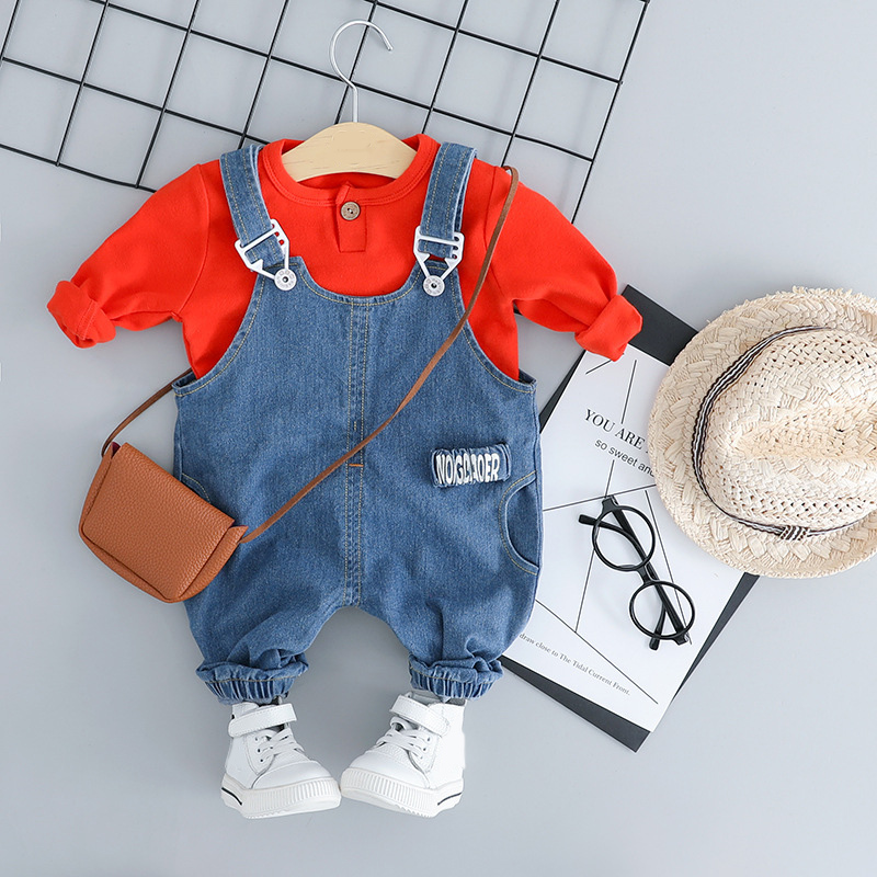 8b4dac41e 2019 Boy Girl Clothes Suit Outfits Red White Tshirt + Bib Jeans Kids  Clothes Costume Toddler