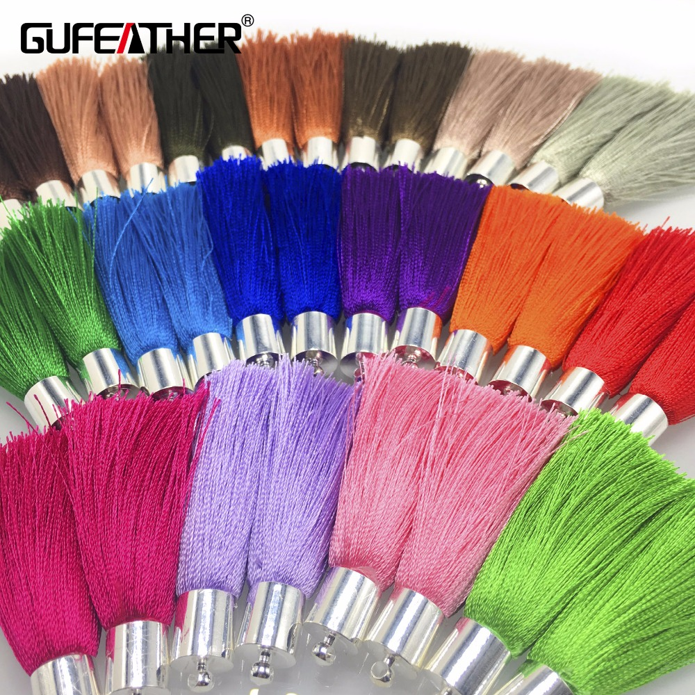 GUFEATHER L94/5CM/silk Tassels/jewelry Accessories/Silver Cap/diy Jewelry/accessories Making /Hand Made/embellishments/4pcs