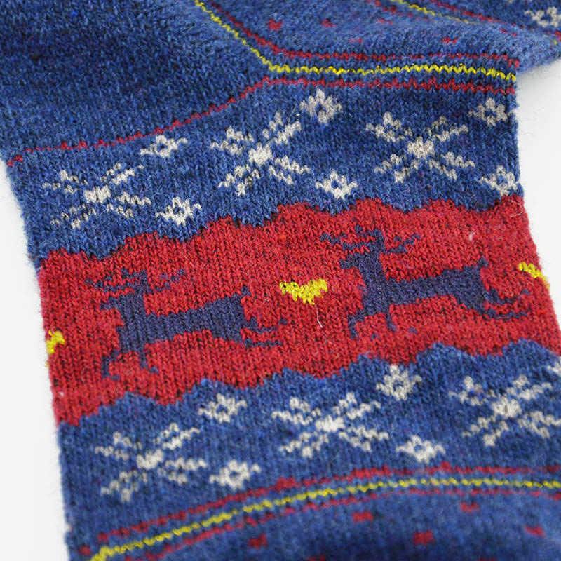 Zimowe ciepłe boże narodzenie Deer skarpety damskie męskie na drutach z wełny Cartoon projekt skarpety na co dzień szorty śmieszne skarpetki Meias Calcetines