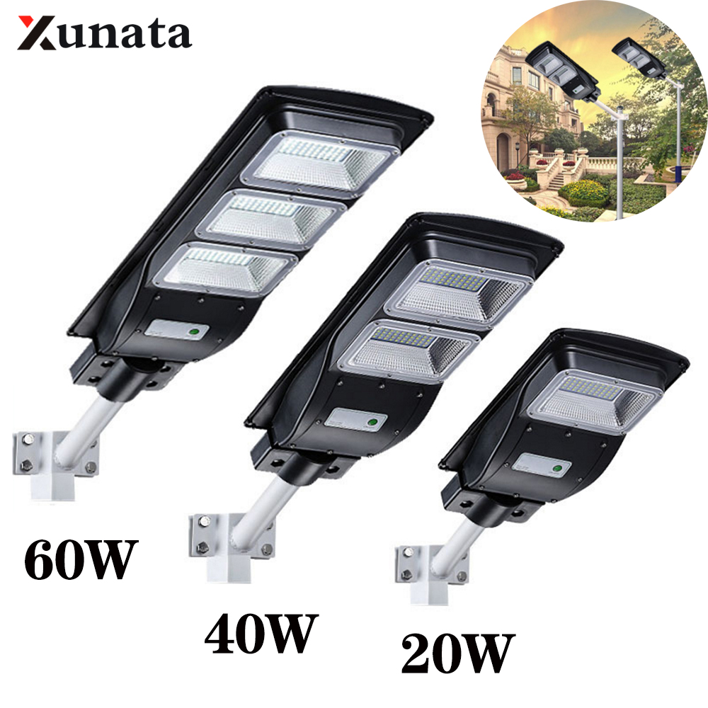 20/40/60W LED Solar Street Light SMD 2835 IP65 Waterproof Outdoor Solar Lamp Radar Motion Sensor Solar Luminaire For Home Street