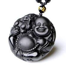 Drop Shipping Natural Black A Obsidian Buddha Pendant Maitreya Necklace For Women Men MiLeFo Fine Crystal Jewelry