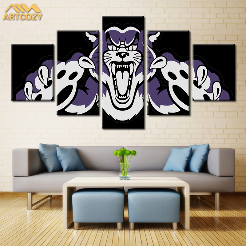 Artcozy 5 Panel Modern Sports Team Wall Art Painting Roar Tiger Canvas Painting for Living Room Home Decor Pture Waterproof