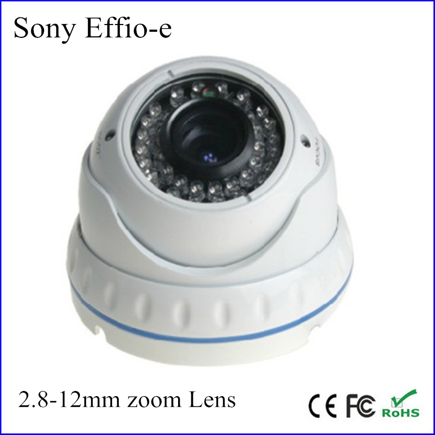 36pcs led night vision 30m sony ccd Effio-e 700tvl 2.8-12mm zoom lens cctv vandalproof dome security camera