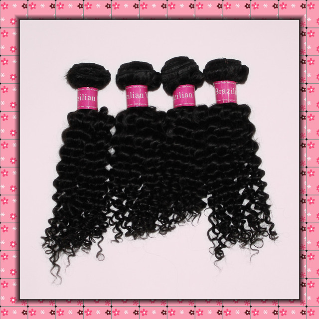 Ms Queen human hair weave 4A curly brazilian virgin hair 1b black more wave curl unprocessed mix 2 3 4 pcs lot 12- 30 inch