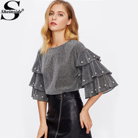 Sheinside Pearl Beading Tiered Flare Sleeve Glitter Women Blouse 2017 Half Ruffle Sleeve Elegant Top Ladies