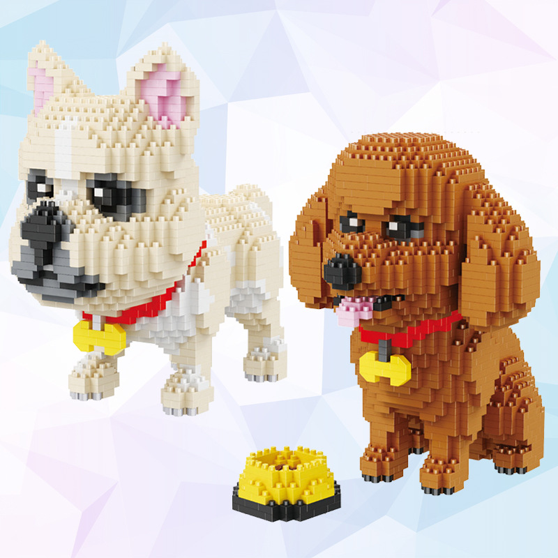 Assembly Mini Blocks Cartoon Building Toy pet Poodle Dog Model Educational Blocks Bulldog Brinquedos Toys for Children Gift xizai connection blocks cartoon building toy big size kitty assembly educational intelligence blocks melody for children gift