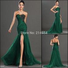 Free Shipping New Hot Sale Sexy Mermaid Black Embroidery Dark Green Pleated Chiffon Evening Dress 2015