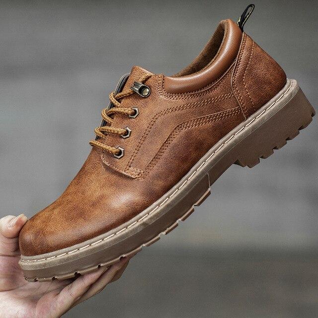 2018 גברים מקרית עור נעלי גברים מרטינס עור נעלי עבודת בטיחות נעלי חורף עמיד למים קרסול Botas