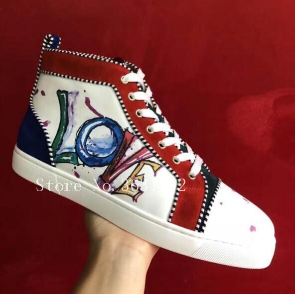 Пара обуви Туфли без каблуков с высоким берцем граффити женская обувь из кожи на шнуровке Botas Mujer Женские сапоги Повседневное обувь для влюб...