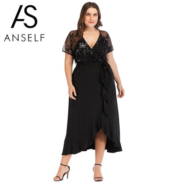 Anself 2018 New Sexy Women Plus Size Dress Sequined Sheer Mesh Mid