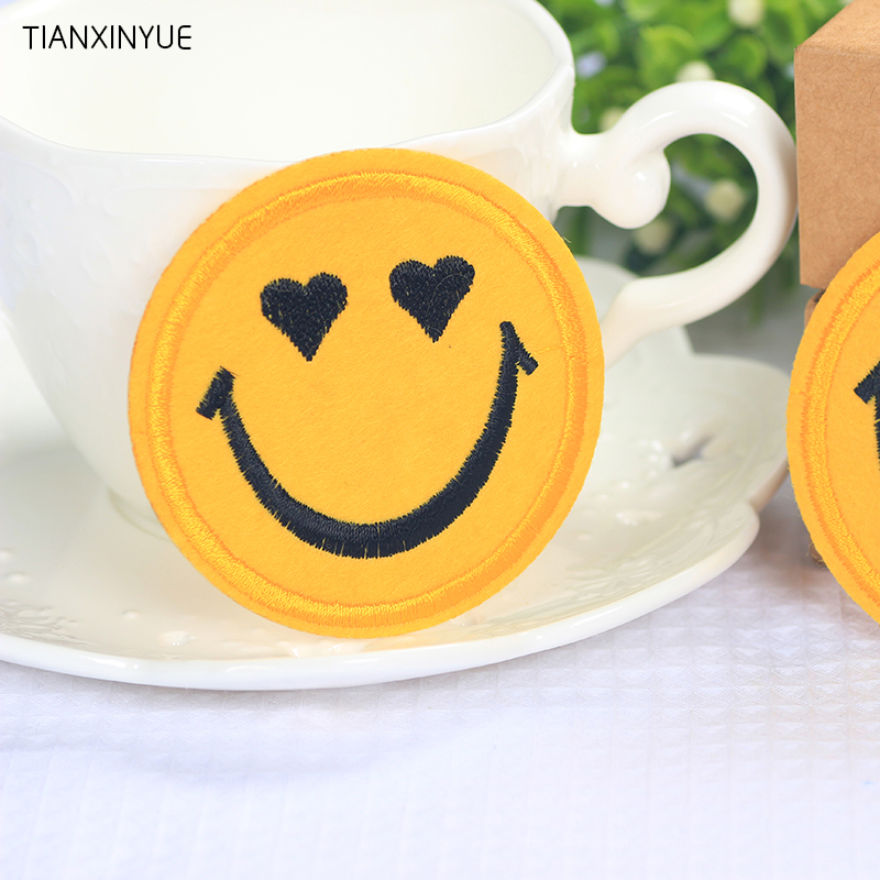 20 pcs/lot 6.5cm Smiley Face iron on patches expression biker patch embroidered DIY Applique Badge sewing accessories