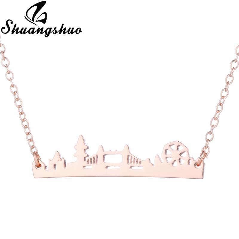 Shuangshuo ロンドンブリッジペンダントネックレス女性チョーカーネックレスネックレスステンレス鋼風景ファム collares デ · モーダ