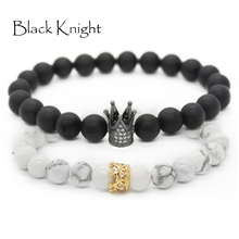 Black Knight Natural stones beads bracelet men women fashion beaded rhinestone crown bracelet lovers jewelries bracelet BLKN0683