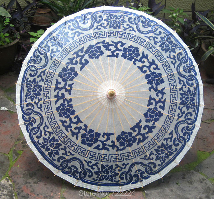 Free shipping Dia 84cm chinese traditional handmade blue-and-white style oiled paper umbrella rain parasol decorative umbrella dia 84cm chinese handmade red plum blossom oil paper umbrella ancient waterproof sunshade parasol decoration gift dance umbrella