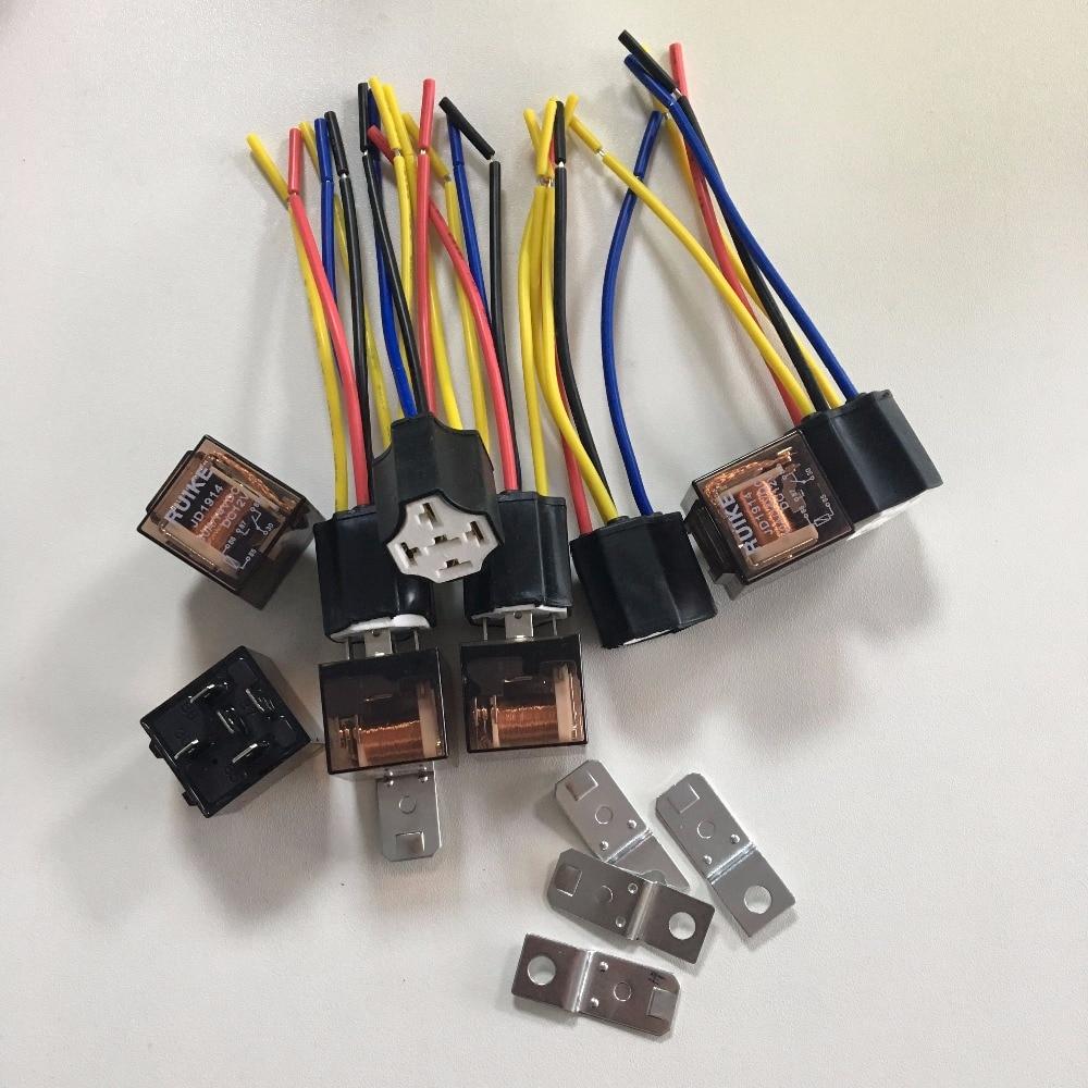 Hot Sale 1set Or 5set 1nc 1no Spdt Ceramic Socket 5 Pin Vehicle Car Electronic Dc Relay 12v 40 Amp Jd1914