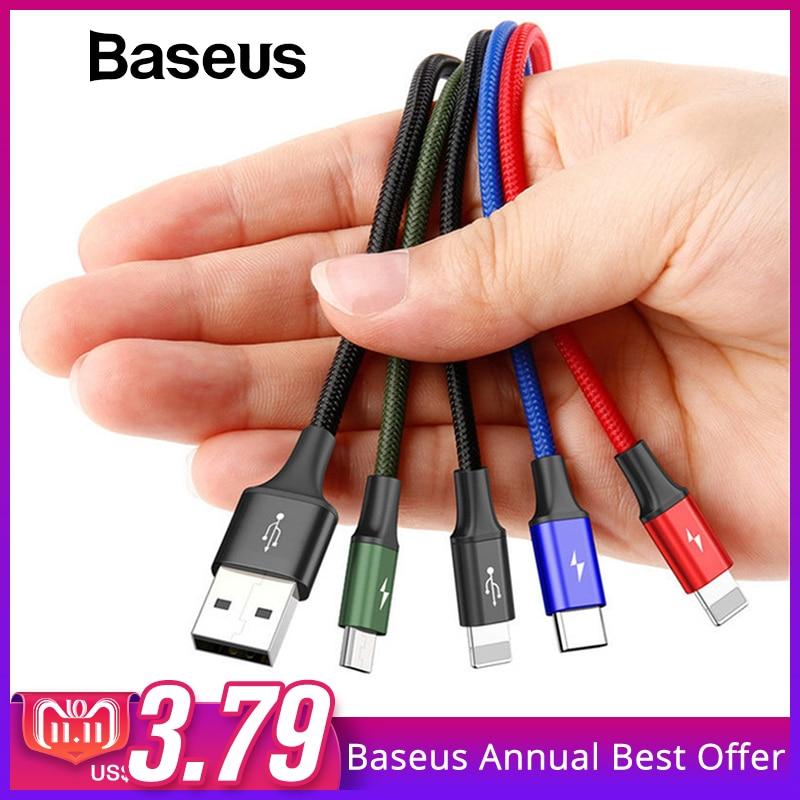 Baseus 4in1 Cable USB para iPhone 7 6X8 Plus rápido Cable de carga Micro USB tipo C Cable para Samsung Galaxy S9 S8 uno más 6 5 t