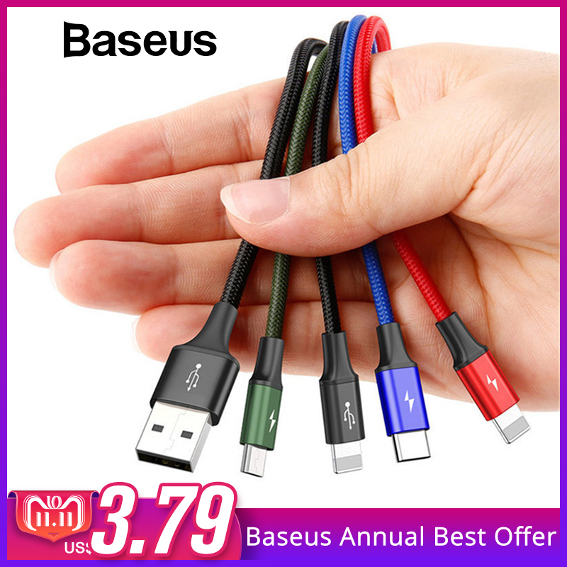 Baseus 4in1 USB Kabel für iPhone X 8 7 6 Plus Schnelle Ladekabel Micro USB Typ C Kabel für samsung Galaxy S9 S8 One Plus 6 5 t