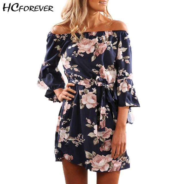 e2b717ba3d3c Off Shoulder Summer Beach Dress 2018 Floral Print Women Sexy Casual Ladies  XS 3XL Plus Large Size Mini Dresses Flare Sleeve Sale
