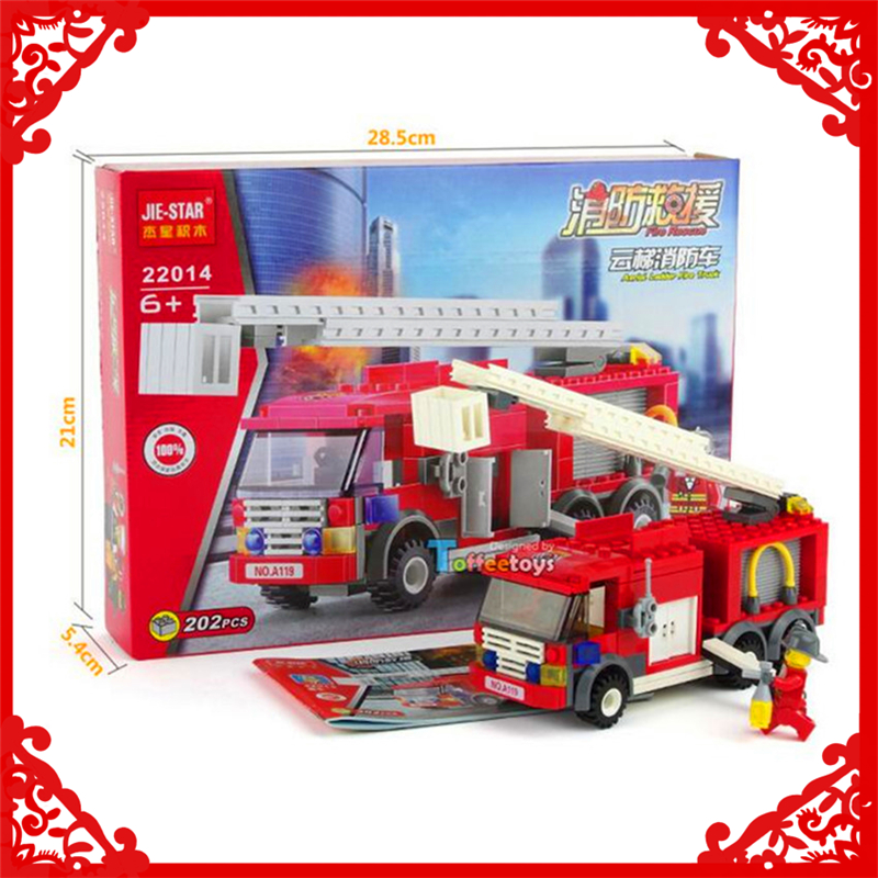 202pcs City Fire Station Ladder Truck Model Building Block Toys Jie Star 22014 Educational Gift For Children Compatible Legoe Novel (In) Design;