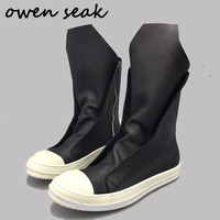 2018 Owen Seak Men Shoes High TOP Boots Luxury Trainers Genuine Leather Winter Snow Boots Casual Lace up Zip Flats Black Sneaker