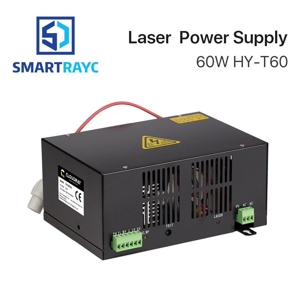 Smartrayc 60W CO2 Laser Power Supply for CO2 Laser Engraving Cutting Machine HY-T60 co2 laser machine laser path size 1200 600mm 1200 800mm