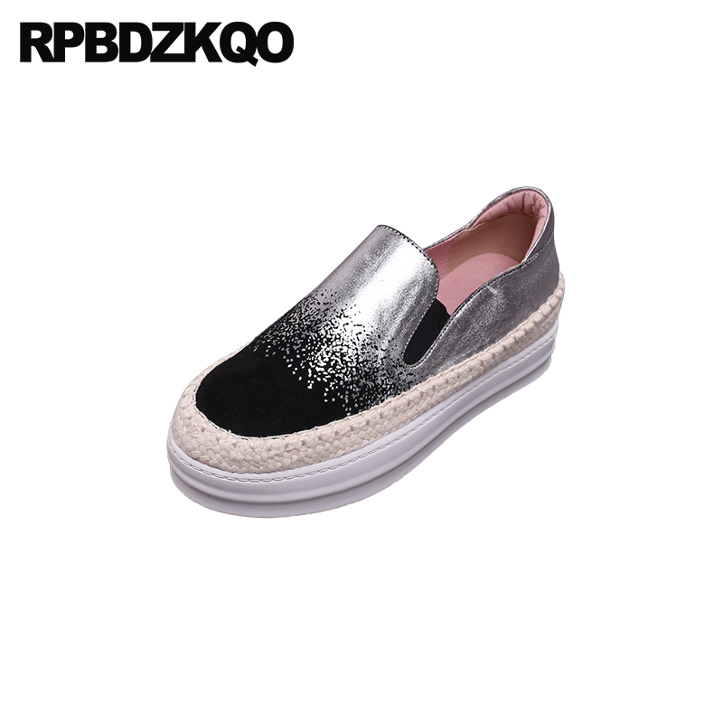 Chaussures Glissement 11 Chanvre white Plate Taille Black Muffin Appartements Sur Sliver Large Corde Creepers Silver Grand Femmes Dames Mocassins forme Fit 10 Respirant 9 Confortable fnwUxEqwv