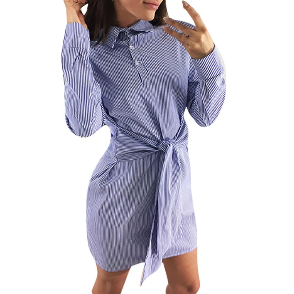 Новый Полосатый Принт лук повязку мини-платье модные женские туфли рубашка с длинными рукавами платья Moda Feminina