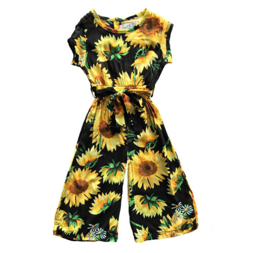 Baby Kid Girl Floral Princess Romper Playsuit Shortsleeve Casual Clothes Sunflower Jumpsuit Kids Baby Girl Clothing 1-6T