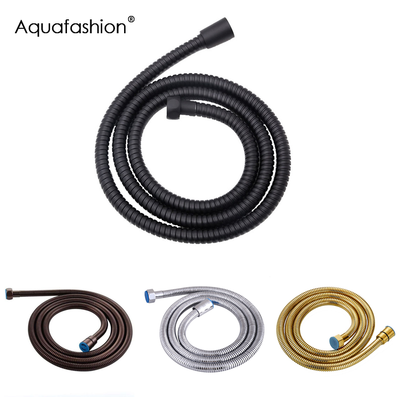 Black Shower Hose 150cm Stainless Steel Shower Tube Flexible Gold Bathroom Hose Plumbing