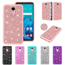 For LG Stylo 4 Case 3D Bling Shining Powder Diamond 2 in 1 PC+TPU Hybrid Crystal Silicone Cover Shell Coque for Q Stylus case