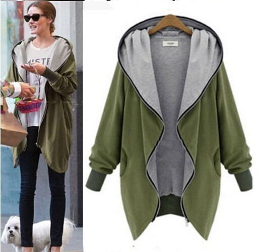 2015 Autumn/Winter Women Hooded Large Size Women Vintage Lapel ...