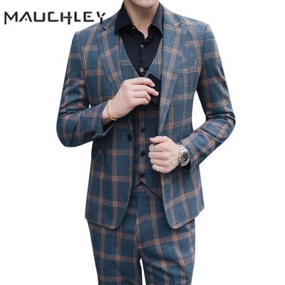 Double Breasted Men Suit With Vest Pants 3 Piece Retro Orange Grey Checkered Slim Fit Plus Size 5XL Wedding Suits For Men 2020