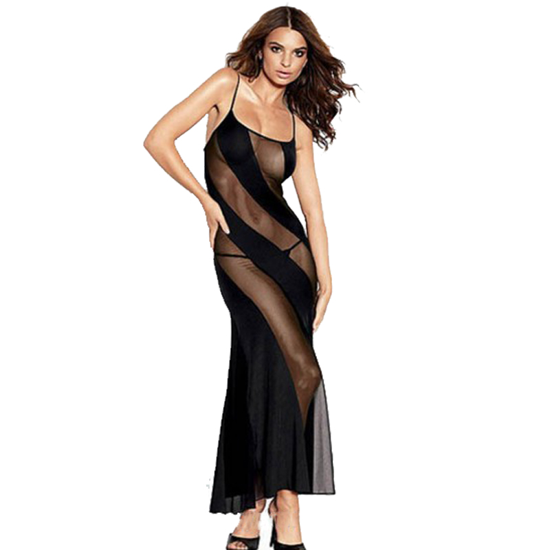 2018 <font><b>Plus</b></font> <font><b>Size</b></font> <font><b>Lingerie</b></font> <font><b>Sexy</b></font> Transparent lace Long Night Gown Sheer Mesh Night Dress Erotic Long <font><b>Lingerie</b></font> Women <font><b>Sexy</b></font> Nightwear image