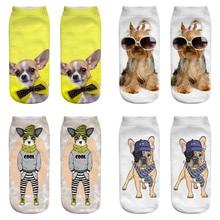 Dreamlikelin 1 Pair 3D Dogs Printing Woman Men Socks Fashion Bow Tie Su