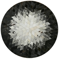 Cowhide patchwork carpet bedroom mosaic geometric round large rug study living room coffee table pad bedroom bedside blanket