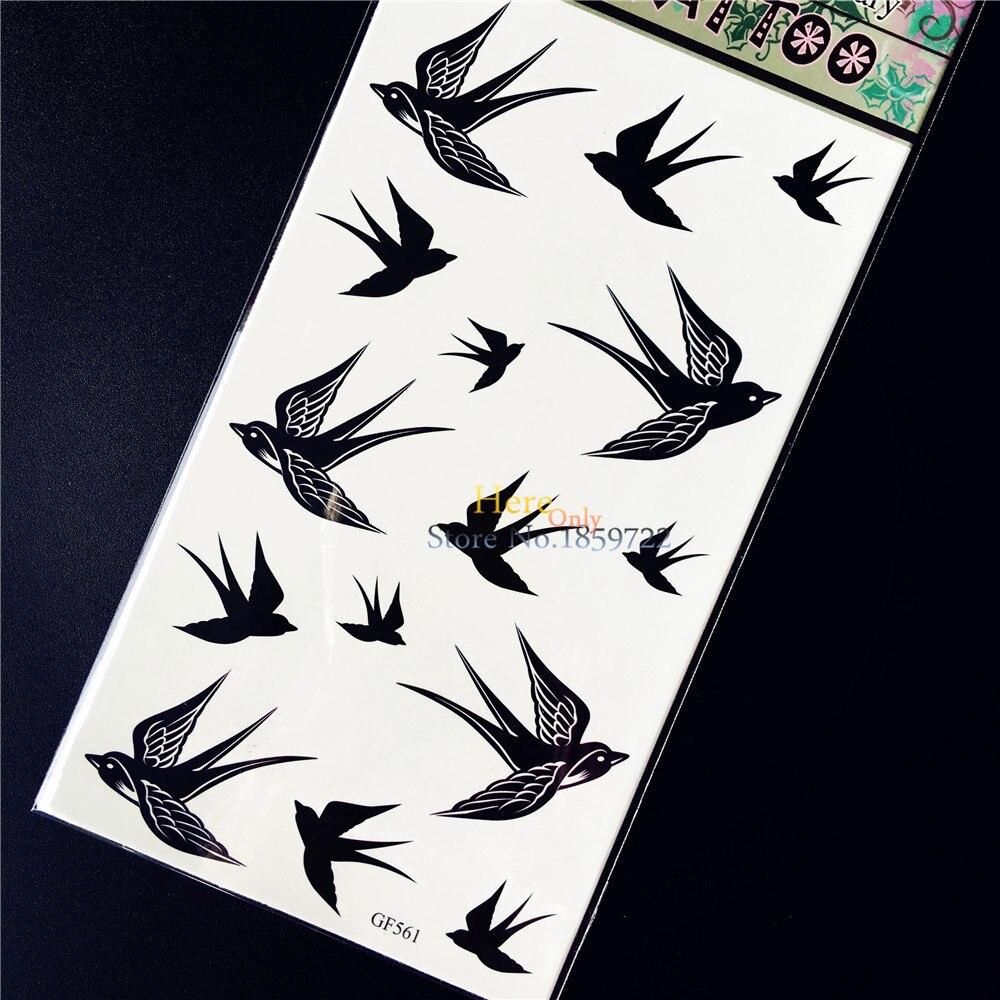 ②nuevo Impermeable Cuerpo Arte Negro Swallow Tatuaje Temporal
