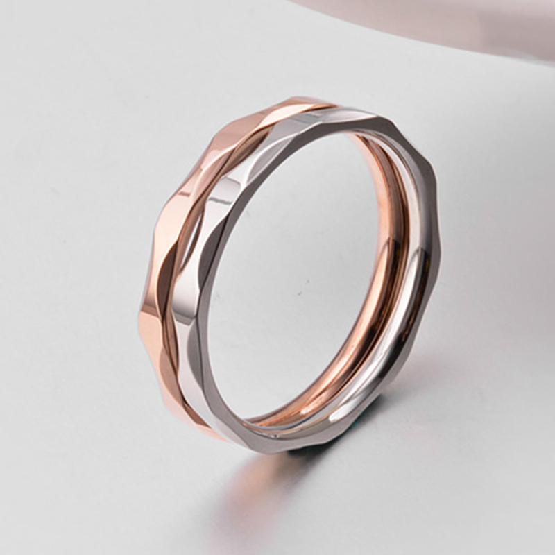 Small Ring for Women and Men Silver/Rose Gold Color Stainless Steel Wedding Ring 2mm Width Exquisite Ring 2