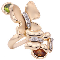 Fashion Brand design Thin gold color butterfly shape crystal wedding party ring rings for women
