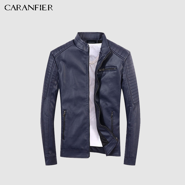 CARAFIER High Quality Leather Jacket Men New Brand Autumn Designer Fashion Stand Collar PU Motocycle Jackets Flying Pilot Coats