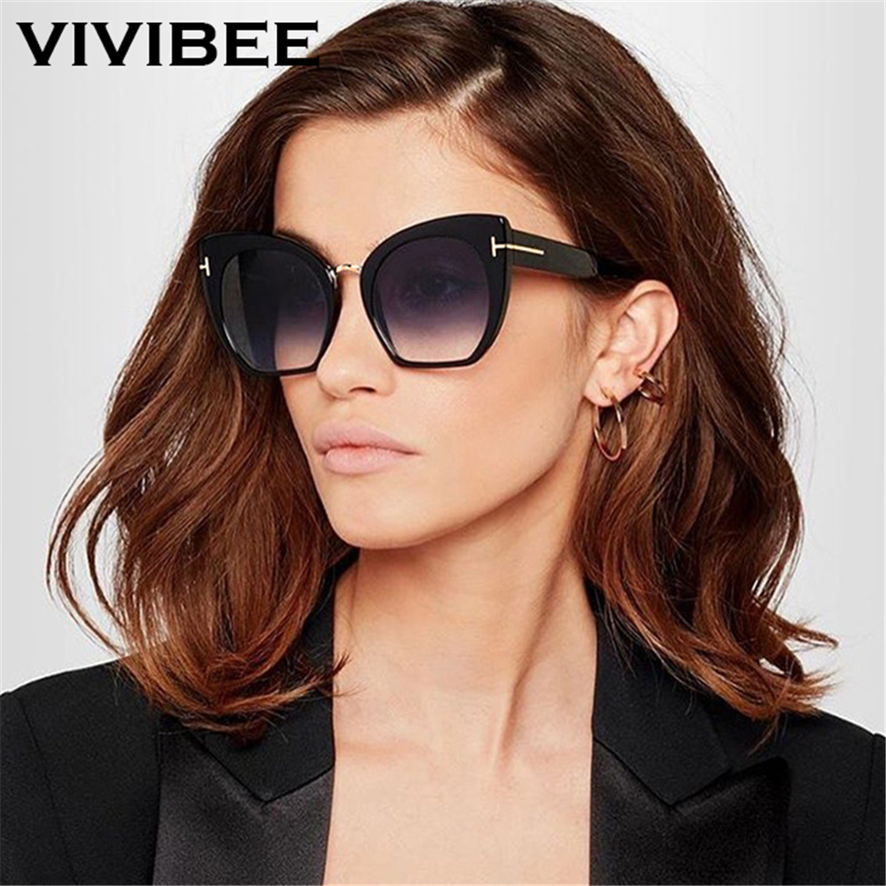 ae08425eb4 VIVIBEE Oversized Vintage Cat Eye Women Sunglasses Black Oversize Gradient  Sun Glasses Ladies Brand Designer 2019 Big Shades