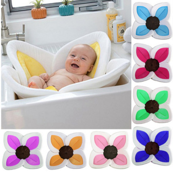 New Baby Flower Bath Tub Newborn Blooming Sink Bath For Baby Boy Girl Foldable Shower Play Bath Infant Plush Floral Cushion Mat 1
