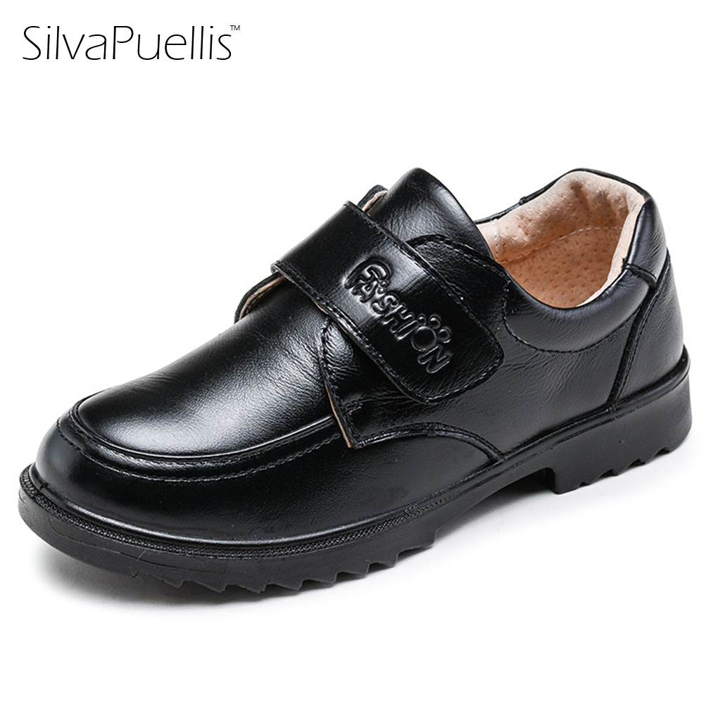 SilvaPuellis 2017 Children Black Blue Brown Oxford Shoes Boys Fashion Genuine Leather Shoes Hook And Loop Boy Dress Shoes rochas rochas rbe rs263 a1 black brown black and brown