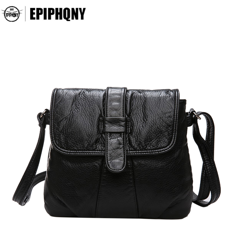 Epiphqny Brand Soft Leather Women Messenger Bag Fashion Lady Shoulder Crossbody Bag Small Female Handbag Black Hand Bag Flap