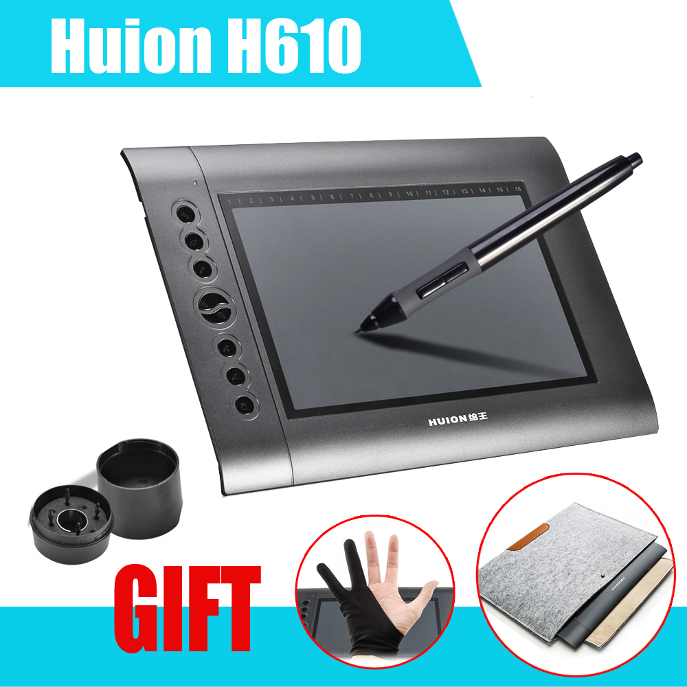 HUION H610 10x6.25 Professional Graphics Drawing Tablet tableta grafica + Anti-fouling Golve + 15 Wool Felt Liner Bag Cover ugee m708 digital tablet 10x6 inch drawing area graphics drawing tablet with rechargeable pen anti fouling glove