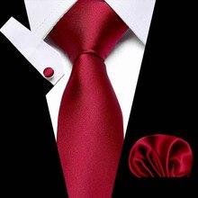 Brand New Solid Color Tie Set 8cm Black Red Necktie Gravata Pocket Square Paisley Silk Handkerchief Cufflinks