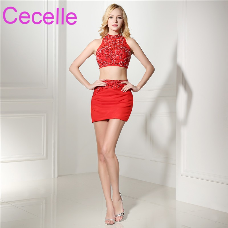 RedTwo Pieces Short   Cocktail     Dresses   2019 Beading Top Sheath Fitted Teens   Cocktail   Party   Dresses   Sparkly Beaded Custom Made