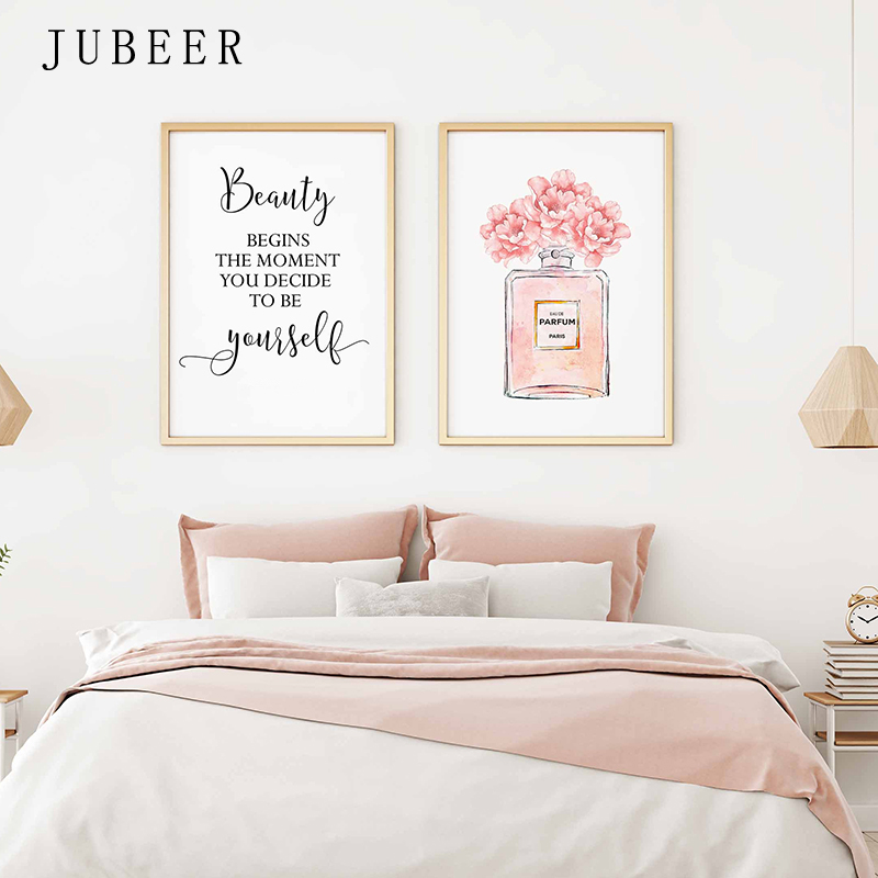 HTB1fVHoalv0gK0jSZKbq6zK2FXaP Perfume Bottle Wall Art Perfume Posters and Prints Beauty Begins Quote Print Watercolor Flower Pictures Bedroom Decoration