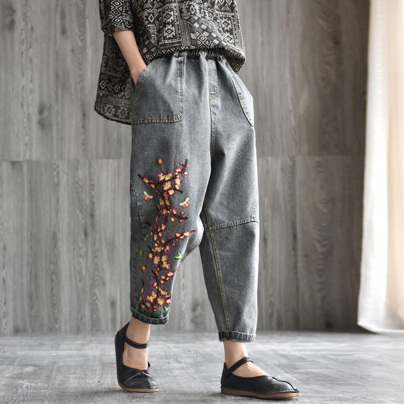 Spring Autumn Jeans Retro Women Loose Casual Denim Pants New Elastic Waist pocket Embroidery Vintage Mori