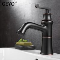 GEYO Antique Black Kitchen Copper Bathroom Faucets Basin Faucets Brass OilRubbed Bronze Faucet Bathroom Shower Hot Cold MixerTap